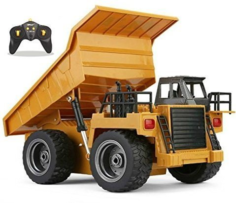 Top Race RC Remote Control Dump Truck Toy Alloy Metal 4WD with Heavy Rubber Tires, for Kids and Adults, 2.4Ghz, Construction Hobby Model with Lights & Sounds, TR-112G (Dump Truck Remote Control)