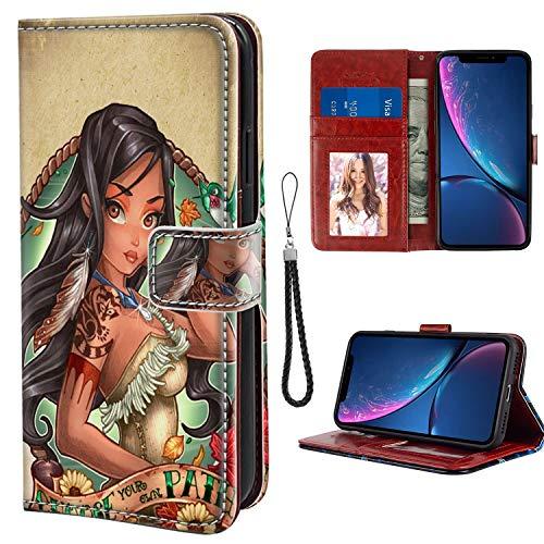 DISNEY COLLECTION Leather Folio Flip Case Fits for Apple iPhone Xr (2018) (6.1 Version) Disney Princess Pocahontas Tattoo Wristlet]()