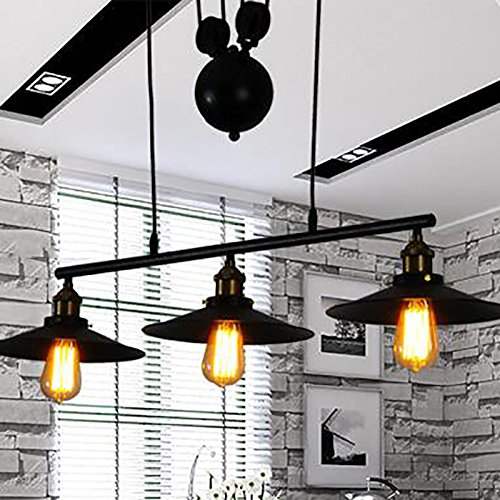 WINSOON Ship from USA Creative Pulley Design Black Iron Painted 3-Lights Island Light Bar Retro Hanging Lamp 3 Heads by WINSOON (Image #8)