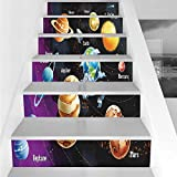 Stair Stickers Wall Stickers,6 PCS Self-Adhesive,Outer Space Decor,Solar System of Planets Milk Way Neptune Venus Mercury Sphere Horizontal Illustration,Multi,Stair Riser Decal for Living Room, Hall,
