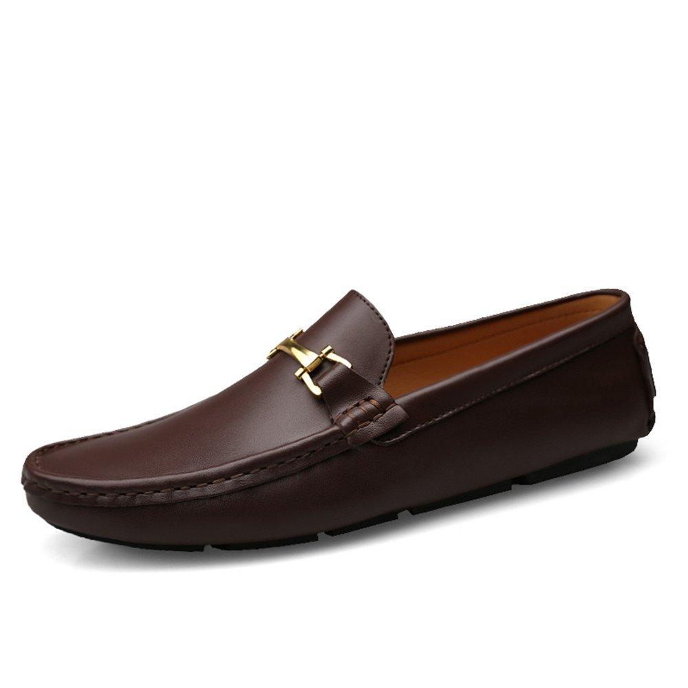Sunny&Baby Mocasines Zapatos Náuticos Zapatos de Cuero Genuino Mocasines Slip-on Zapatos de Conducción Casuales Planos Antideslizante (Color : Marron Oscuro, Tamaño : 44 EU) 44 EU|Marron Oscuro