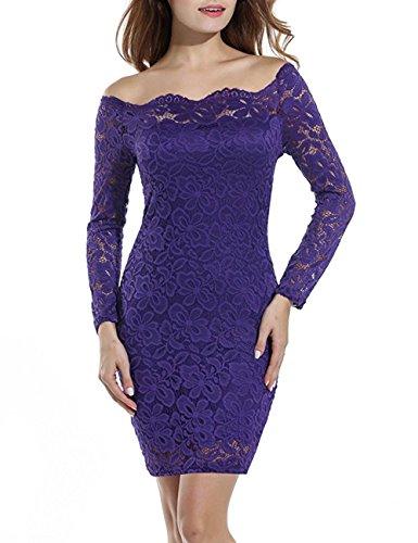 Purple Scalloped - Ellies Women Off Shoulder Long Sleeve Lace Dress Bodycon Scalloped Mini Dresses, Dark Purple, Size L