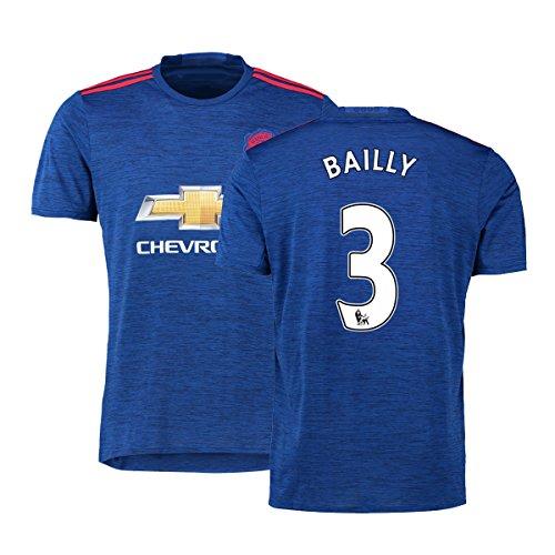 FC Football Jersey Manchester United Soccer Jersey Away Shirt 2016-17 Mens #3 Bailly Blue XXL