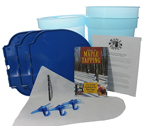 Deluxe Maple Tree Tapping Kit (Tap 3 Trees) Includes 3 Sap Buckets + Lids, 5/16 inch Tree Saver Taps Spiles, Syrup Filter, Tapping Drill Bit, and 80 Page Fully Illustrated Guide to Maple Tapping Book (Deluxe Maple)