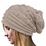 Elevin(TM)Women Winter Autumn Crochet Hat Wool Knit Beanie Warm Cap (Beige)