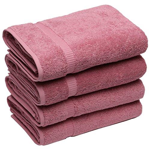 SALBAKOS Luxury Hotel & Spa Turkish Cotton 4-Piece Eco-Friendly Bath Towel Set 27 x 54 Inch, Rose