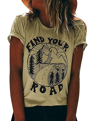 LANMERTREE Find Your Road O Neck T-Shirt Women Funny Letter Print Short Sleeve Blouse Tee (M, Light Khaki)