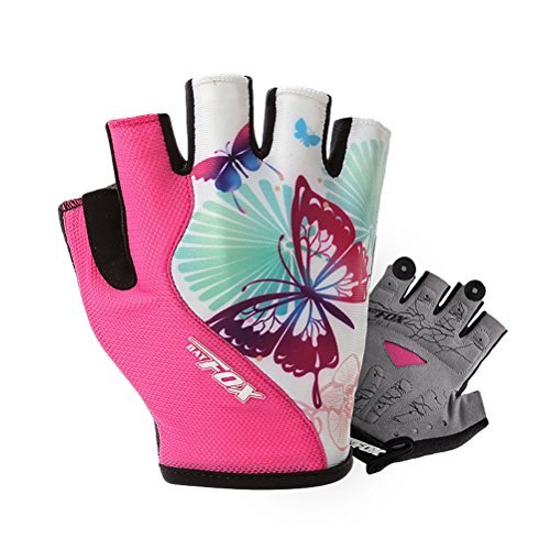 DuShow Cycling Gloves Women Half Finger Gel Padded Bike Gloves Anti-Slip Shock-Absorbing Fingerless Bicycle Short Gloves(Pink,S) ()