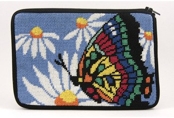 - Stitch & Zip Needlepoint Purse/Cosmetic Case Kit - SZ573 Butterfly & Daisies