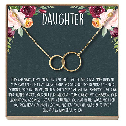 Dear Ava Daughter Necklace: Gift for Daughter, Daughter Jewelry, Mother Daughter, 2 Asymmetrical Circles (Gold-Plated-Brass, NA)