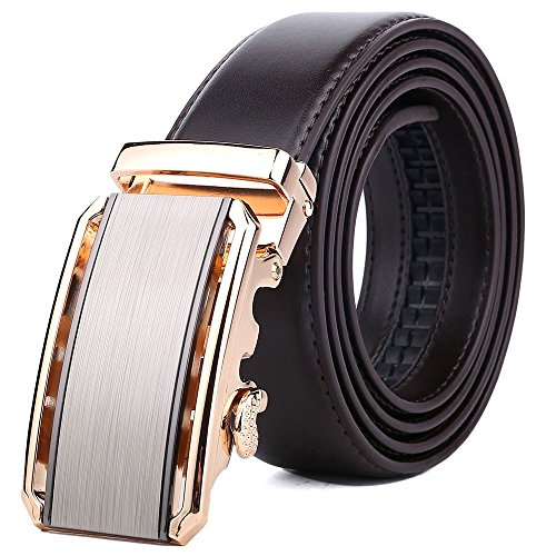 BOMEANS Ratchet Leather belt for men Automatic (Design Belt Buckle)