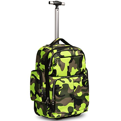 HollyHOME 20 inches Large Storage Multifunction Waterproof Travel Wheeled Rolling Luggage Backpack for Boys Travelling School Books Laptop Bag, Green