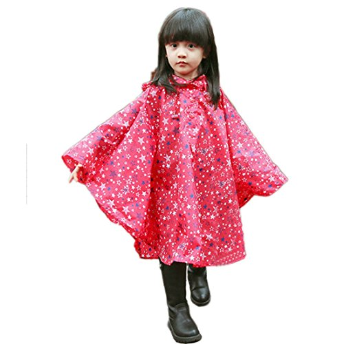 Patking Girls Kids Toddler Children Hooded School Backpack Rain Ponchos Jacket Raincoats Outerwear Red XL (Fit 55.1