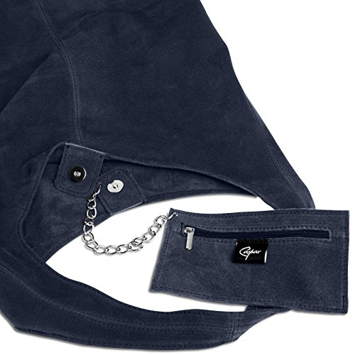 de Ante Azul Bolso TL767 Mujer de para de Piel Hombro Oscuro CASPAR gYqRH
