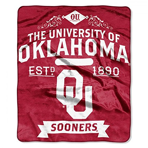 NCAA Oklahoma Sooners College Label Raschel Throw, 50 x - Malls Oklahoma In Outlet