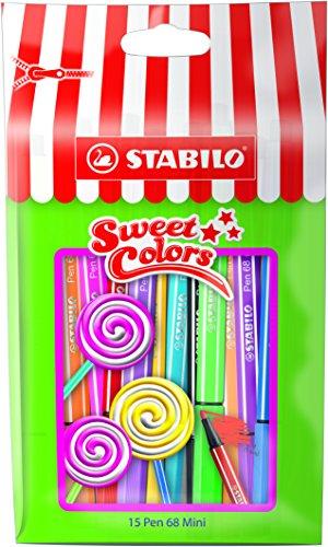 (STABILO Pen 68 Mini Sweet Colors Felt-Tip Pens - Assorted Colours, Pack Of 15)