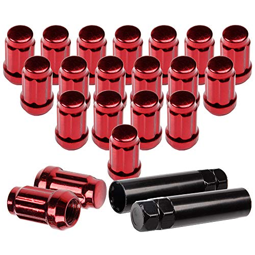 SCITOO 20PCS Red Lug Nuts and 2PCS Black Keys for Spline Key Heptagon Steel JDM Tuner, 12x1.5 Thread, Fits for Ford Fusion Lexus IS250 Ford Thunderbird Toyota Celica 1994-2014