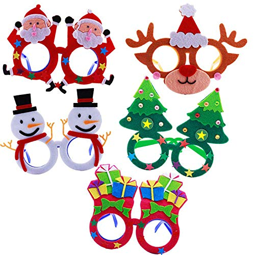SBYURE 5 Pack Novelty Christmas Glasses Fancy Eyeglasses Frames DIY Felt Creative Funny Eyewear Xmas Photo Booth Props Happy New Year Celebration Costume Party Supplies Decoration for ()