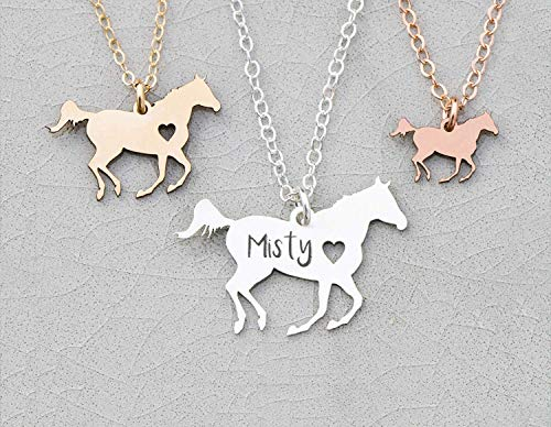 (Personalized Horse Racing Necklace - IBD - Personalize Name Date - 935 Sterling Silver 14K Rose Gold Filled - Fast 1 Day Production - Running Wild Stallion)