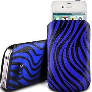N4U Online - Vodafone Smart 4 Premium cebra Caso ficha de extracción caso del tirón del cuero de la PU del diseño - azul