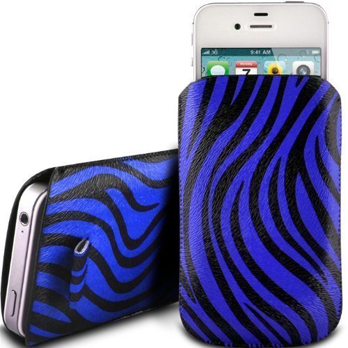 N4U Online - Apple Iphone 3G Prime Zebra Conception PU Pull en cuir flip Tab Housse Etui - Bleu