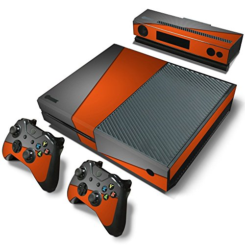 ZoomHit Xbox One Console Skin Decal Sticker Gray and Orange + 2 Controller & Kinect Skins Set (Orange Console)