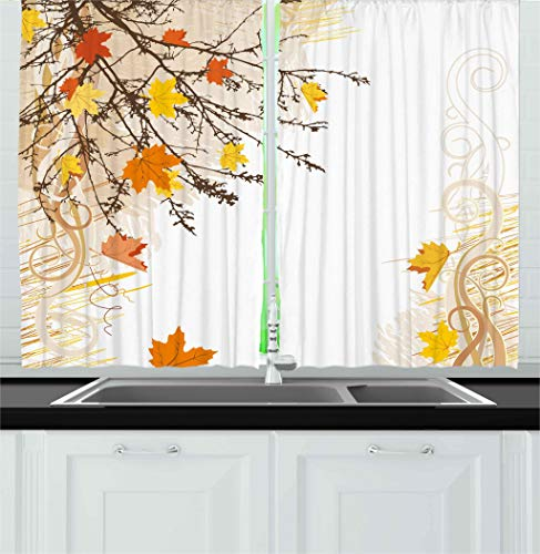 Ambesonne Nature Kitchen Curtains, Autumn Maple Leaves Branches in Fall Earthen Tones Faded Woodland Art Print, Window Drapes 2 Panel Set for Kitchen Cafe Decor, 55