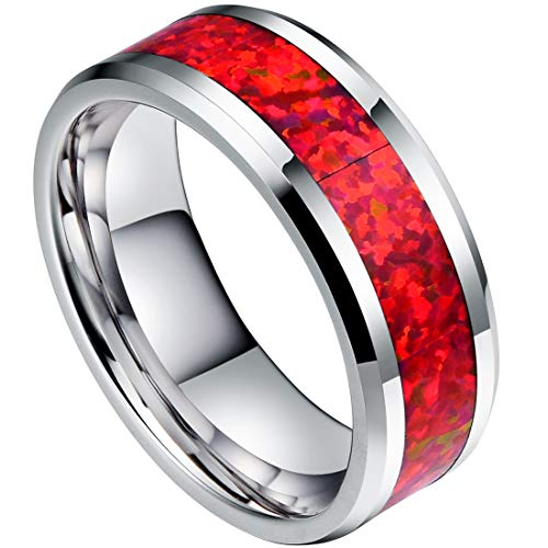 DOUX 8mm Mens White Tungsten Carbide Ring Red Opal Inlay Wedding Band Comfort Fit High Polished(10) (White Gold Lord Of The Rings Wedding Band)