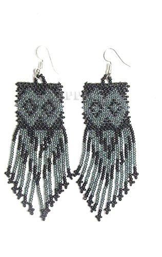 La vivia Handmade Black Grey Bead Work Beaded Fringe Earrings E-19-SB-12