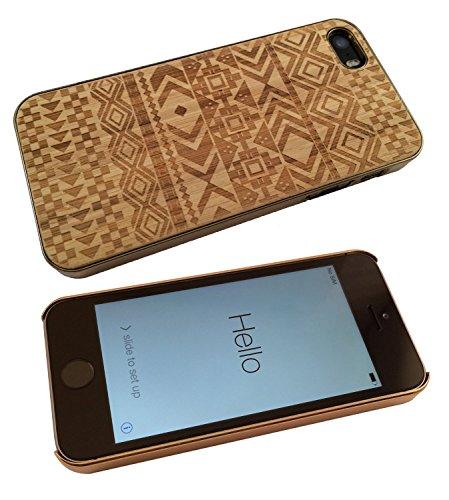 iphone 5 5S Hülle Luxury Wood Natürliches Holz Aztec Ornate Stil Designer Hülle Case Back Cover-gold