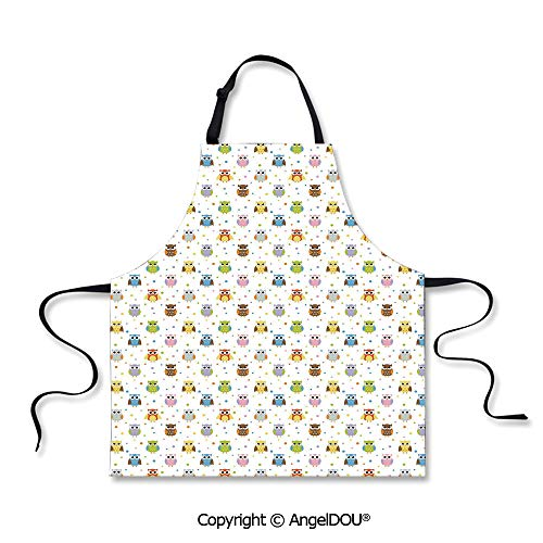 SCOXIXI Adult Kitchen Dinner Party Cooking Apron Angry and Funny Cartoon Mascots with Colorful Dots Childish Sweet Kids Design Pattern Decorative for Kitchen Men Women use.