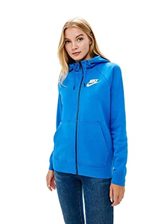 e938a45b2ec48 Nike W NSW Rally Hoodie FZ Veste Femme, Bleu/Blanc Signal Blue/White