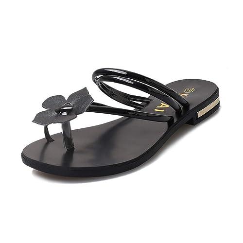 SED Slipper Female Summer Flat Non-Slip Beach Sandals and Slippers Out Flower Slippers