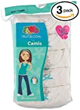 Fruit of the Loom 3Pack Girls White Cami Camisoles Undershirts Tank Tops M