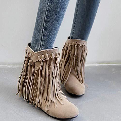 Winter Ladies Vitalo Beige Womens Shoes Low Boots Heel Ankle Fringe Wedge Autumn rzWAXqUaz