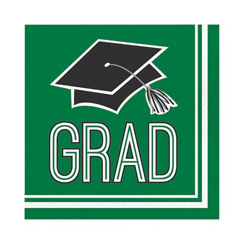 Hoffmaster Group 320058 2 Ply School Spirit Emerald Green Lunch Napkin, Pack of 10-36 per Pack