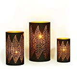 Adeco Classic Oriental Style Diamond Pattern Metal Candle Holder - Black Color - Set of 3