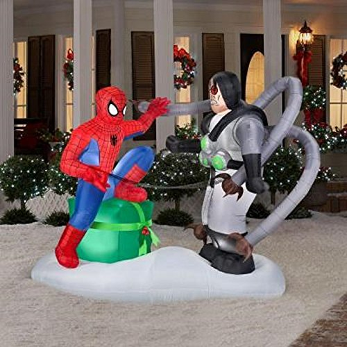 CHRISTMAS INFLATABLE 6 FT TALL X 7 FT WIDE SPIDERMAN VS DR OCTO MARVEL (Heroes Versus Villains Costumes)