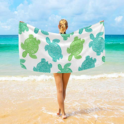 DmiGo Sea Turtle The Tortoise Reptile Animal Cotton Bath Towels, 1 Pack, (32 x 64 Inches), Pool Towels and Gym Towels, White (Difference Between Turtle And Tortoise In English)