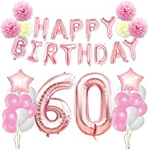 KUNGYO 60th Birthday Decorations Kit-Rose Gold Happy birthday Banner- Giant Number 60 and Star Helium Foil Balloons, Ribbons, Paper Pom Flowers, Latex Balloons, Elegant Party Supplies for Women