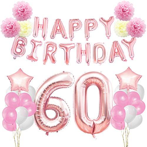 KUNGYO Decoraciones de Feliz Cumpleaños 60 Oro Rosa Happy Birthday Bandera - Gigante Número 60 Helio Globos, Cintas, Flores de Papel Pom, Globos de ...