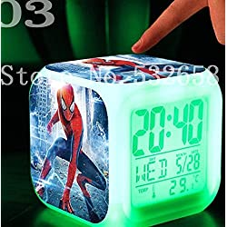 AThiToZone (arrive within 3-5 weeks). Spiderman 7 Colors Change Digital Alarm LED Clock Cartoon Night Colorful Toys for Kids (Style 3)