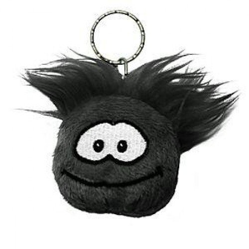 Disney Club Penguin Keychain 2 Inch Plush Puffle Black