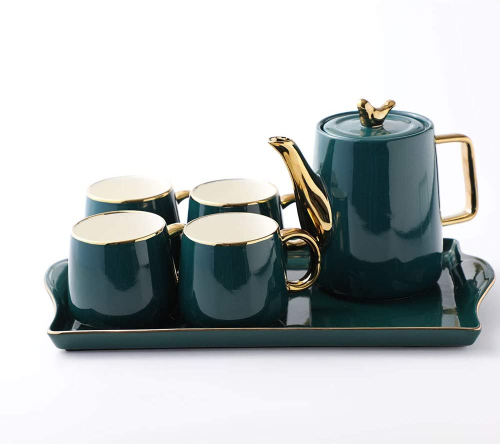 Purzest Tea Cup Teapot Set with Tray, Emerald Ceramic Teapot Coffee Cups Set Christmas Gift for Drinking Tea Latte Water, Tea Pot 40 OZ, 4 Cups 10 OZ