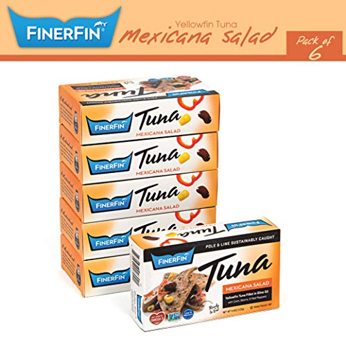 FinerFin Yellowfin Tuna In Organic Olive Oil - Mexicana Salad Flavor (4.4oz can - 6 Pack); Premium Canned Tuna Fish with Extra Virgin Olive Oil, Ready-to-Eat Gourmet Tuna Fillet, - 3s Fin