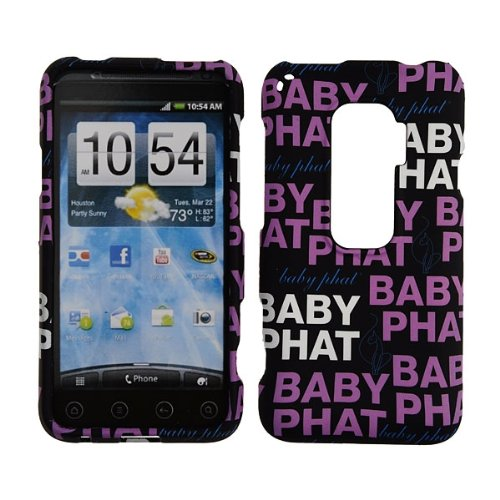 HTC EVO 3D Case Baby Phat Brand Cover Snap On Faceplate Shield Cell-Tronics BABY PHAT BLACK REPEAT (Htc Evo 3d Boost Mobile)