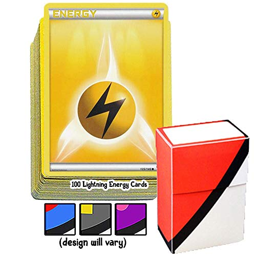 100 Basic Lightning Energy Pokemon Cards with A Totem World Deck Box - Yellow Type - Set Varies from XY to Sun and Moon Series (Lightning Energy Pokemon Card)