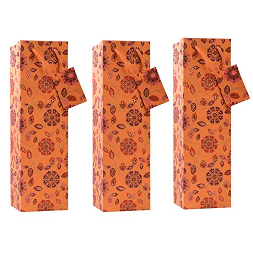 C.W. Collections Handcrafted Artisan Wine Bottle Gift Bag (3 Pack), Floral Medallions, Orange/Red (Corporate Wine Gifts)