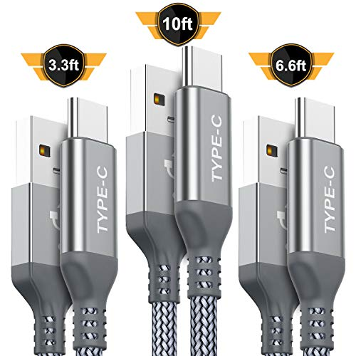 USB Type C Cable,AkoaDa 3-Pack (3.3/6.6/10ft) USB to USB C Cable Nylon Braided Fast Charger Cord Compatible with Samsung Galaxy S8 S9 Plus Note 8,Note 9,Google Pixel XL,LG G5 G6 V20,Moto Z Z2(Grey)