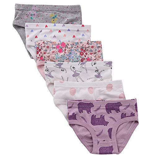 benetia Kids Underwear Girls Briefs Soft Cotton 6-Pack 5t 6t